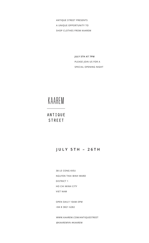 KAAREM at ANTIQUE STREET - POP-UP SHOP in SAIGON, VIETNAM