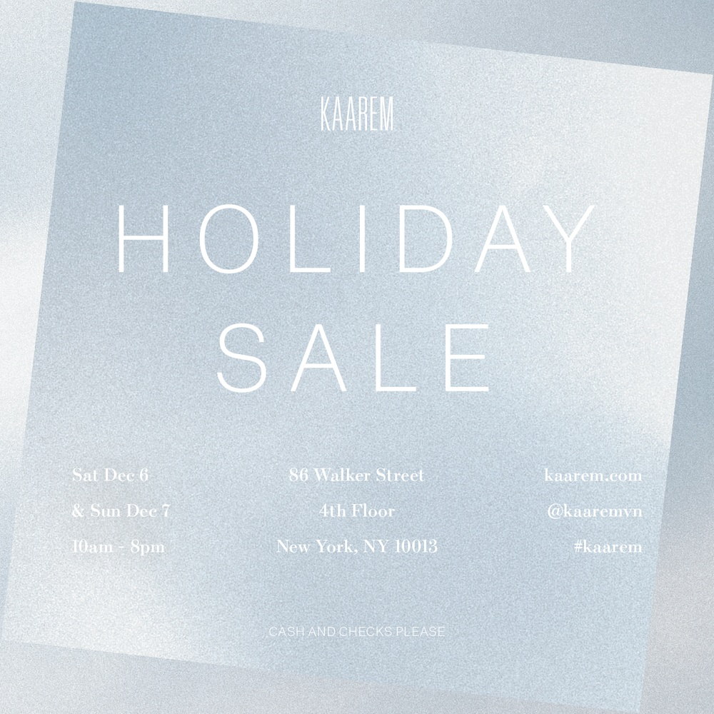 KAAREM Holiday Sale in New York City - December 6-7, 2014